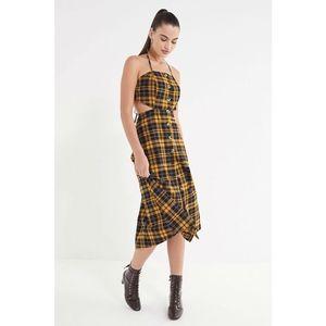 UO Halter Linen Button-Down Tie Dress S